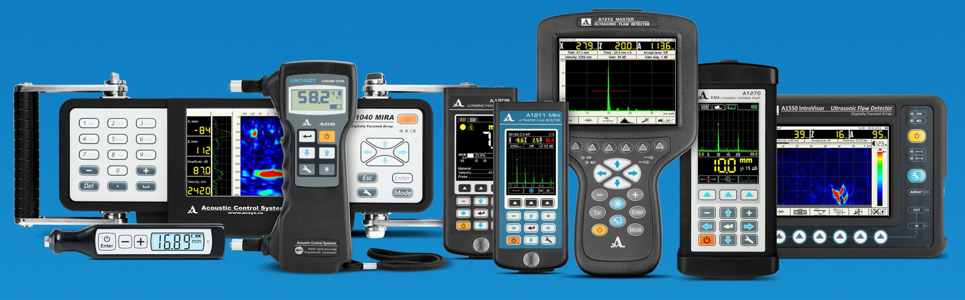 Ultrasonic testing instruments for metal, concrete and composite material testing